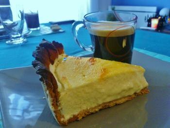 Tarte fromage blanc sur pâte sucrée à la cannelle