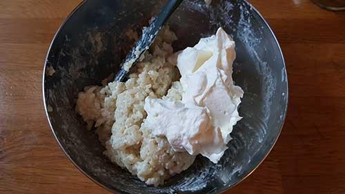 Riz au lait - ajout de la crème fouettée