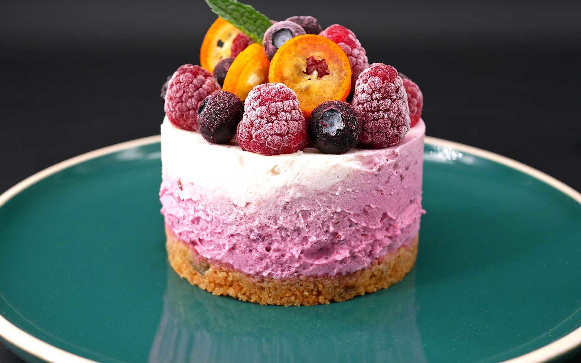 Cheesecake marbré aux fruits rouges