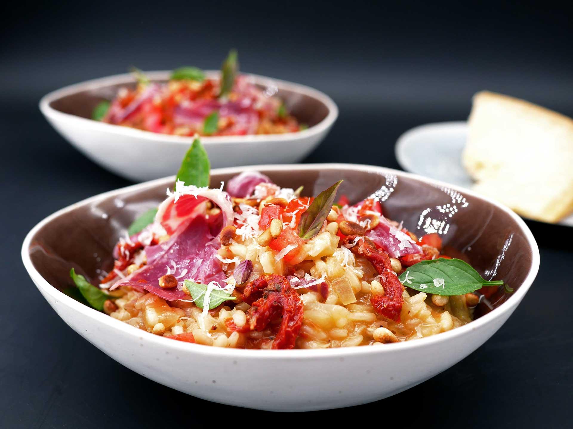 Risotto au jambon pata negra et tomates confites