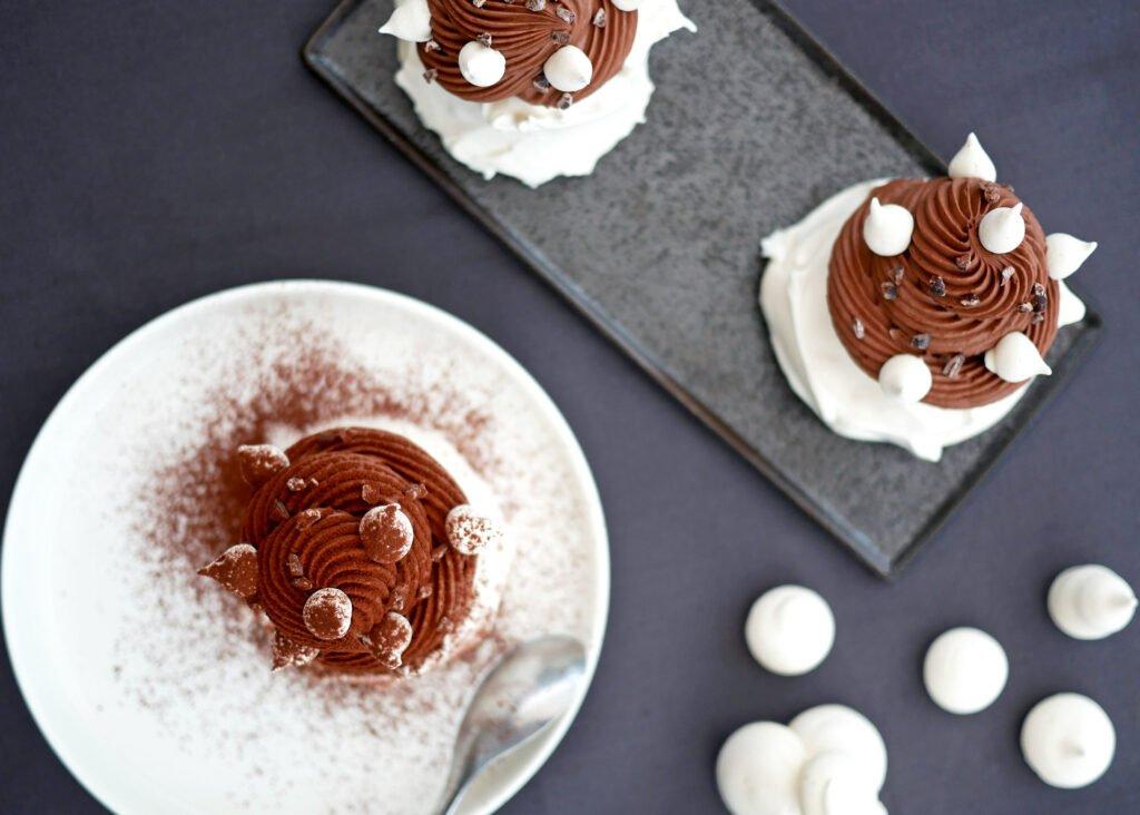 Pavlova au chocolat - vue du dessus