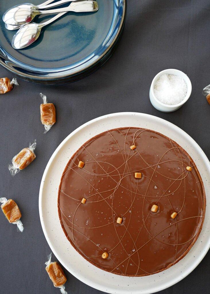 Tarte chocolat et caramel - vue du dessus