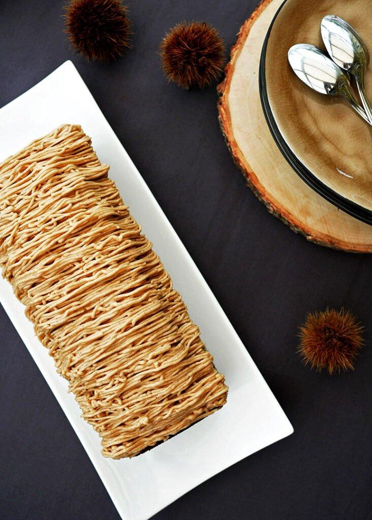 Cake aux marrons - zoom sur les vermicelles de marron