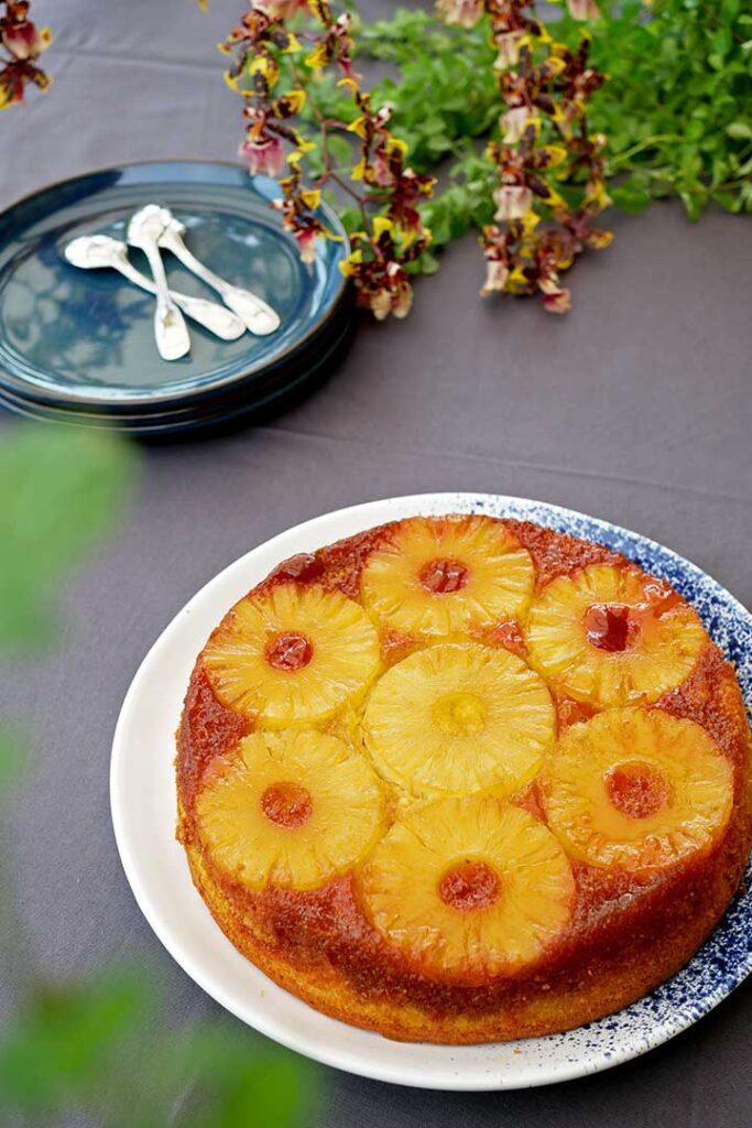 Gâteau ananas renversé vue du dessus